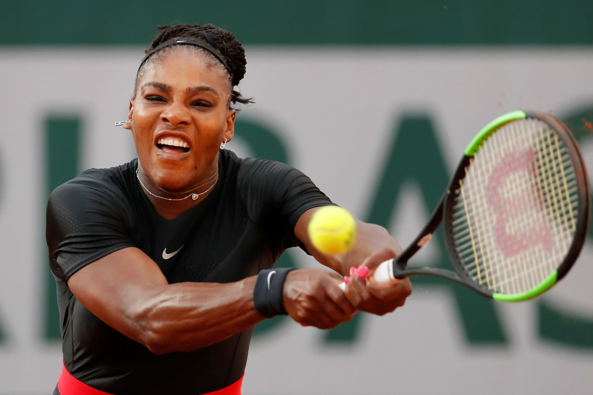 Serena Williams of the U.S. in action in the French Open, June 2, 2018.