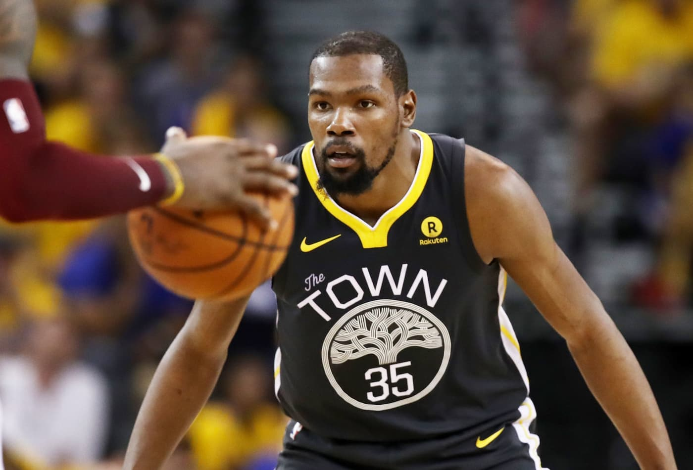 a47ae5435c61 Kevin Durant  35 of the Golden State Warriors defends against LeBron James  of the Cleveland Cavaliers in Game 2 of the 2018 NBA Finals at ORACLE Arena  on ...