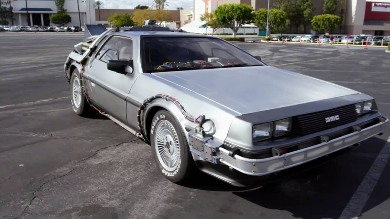 Jay Leno Drives A 750 000 Copy Of The Back To The Future Delorean