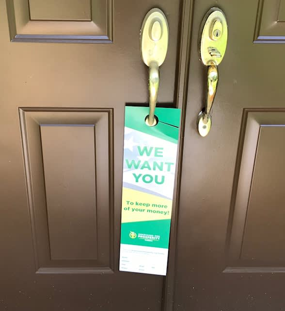 AFP door tag Americans for Prosperity