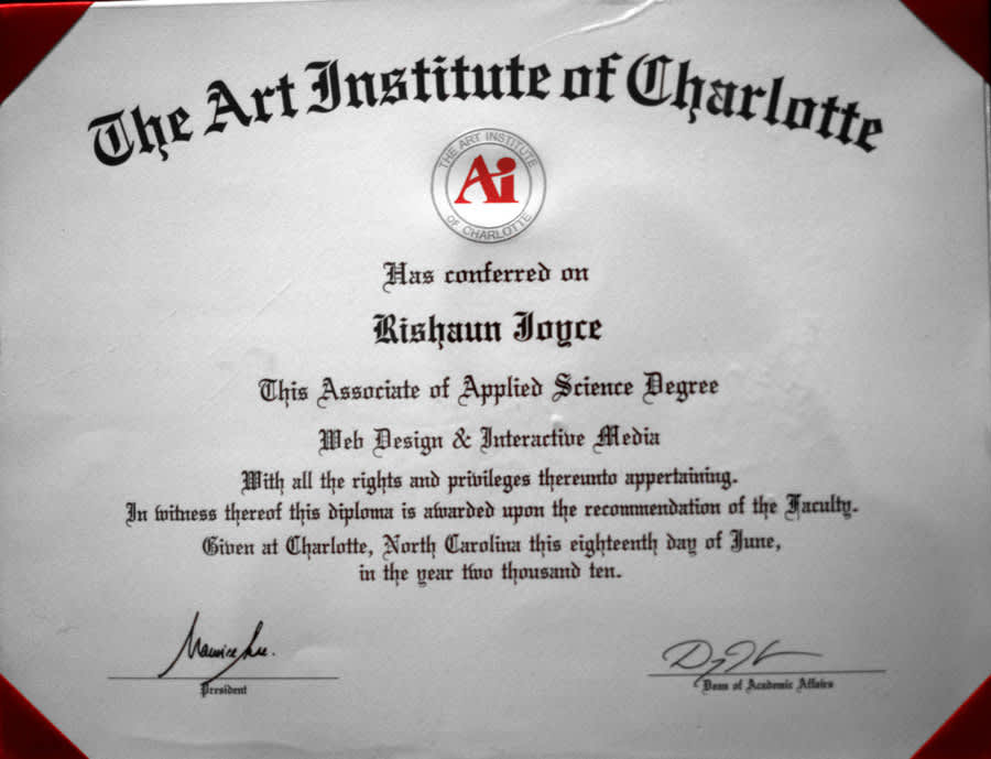 ONE TIME USE: Diploma for Rishaun Joyce