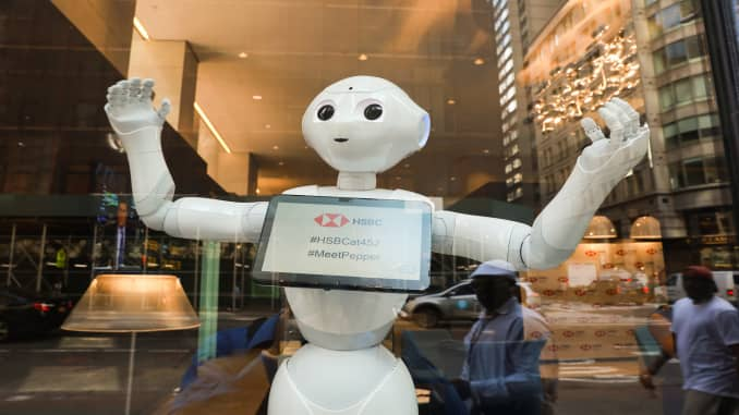 This bank has robots that dance, take selfies and push