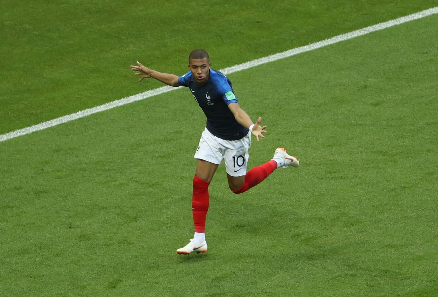 9ec0a5fc0 Kylian Mbappe of France celebrates after scoring his team s third goal  during the 2018 FIFA World Cup Russia Round of 16 match between France and  Argentina ...