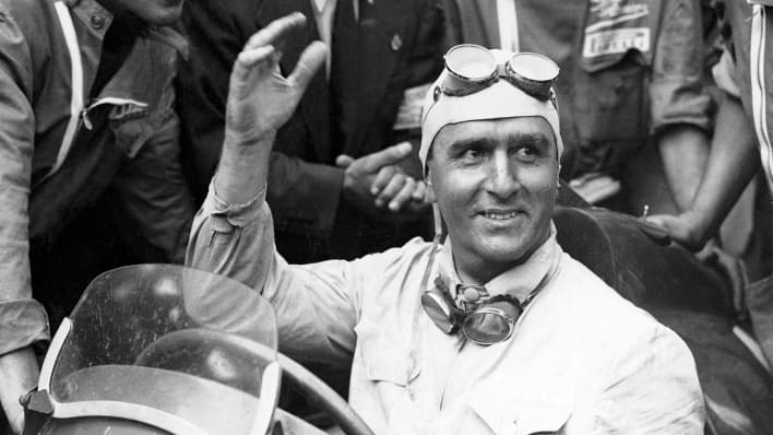 Italian racer Giuseppe Farina wins the world's first Formula One Grand Prix in 1950. Photo courtesy of CNBC