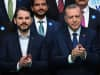Turkish President Recep Tayyip Erdogan (R) poses with Beraat Albayrak on May 29, 2018 in Istanbul.
