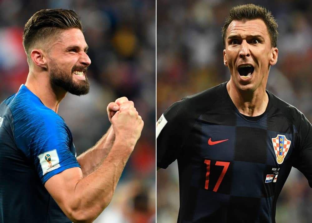 Olivier Giroud of France, left, and Mario Mandzukic of Croatia
