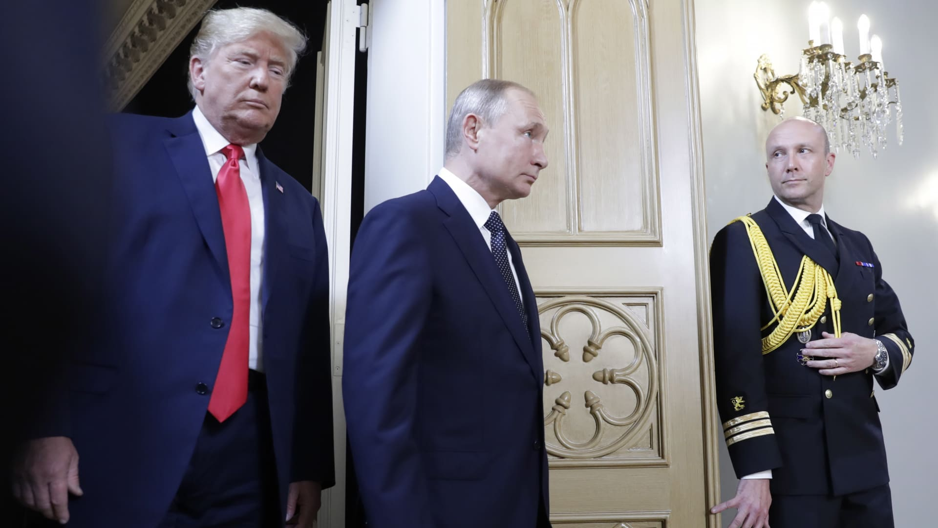President Donald Trump (L) and Russia's President Vladimir Putin during a meeting at the Presidential Palace in Helsinki, July 16, 2018.