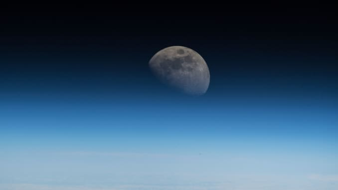 The moon seen from the International Space Station on July 9, 2018.