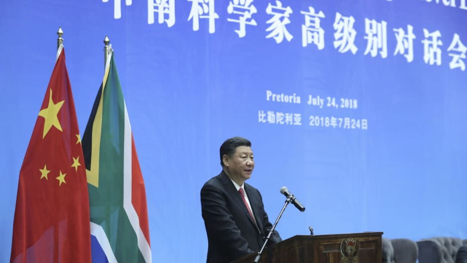Chinese President Xi Jinping and South African President Cyril Ramaphosa (not pictured) deliver a speech at the opening ceremony of South Africa-China Scientists High Level Dialogue between the two countries' scientists on July 24, 2018, in Pretoria, South Africa.