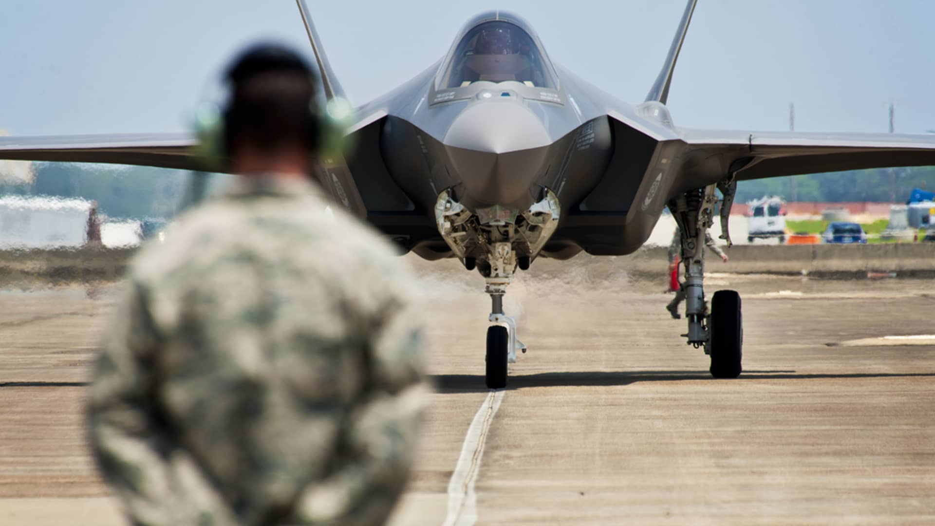 A U.S. Air Force F-35 Lightning II joint strike fighter approaches at Eglin Air Force Base, Florida.