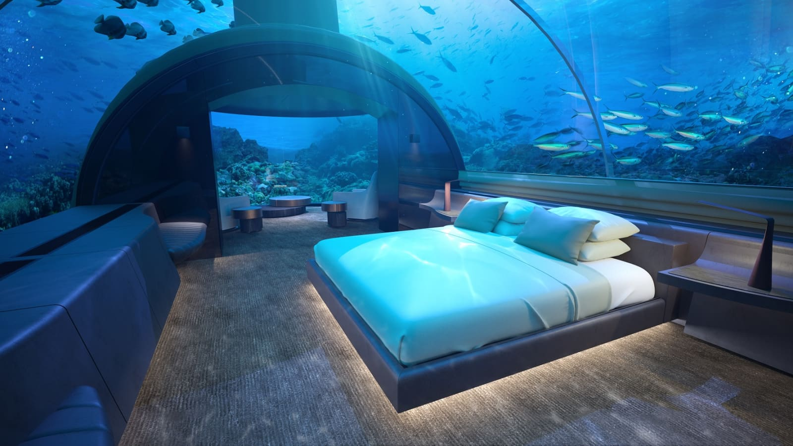 Photos World S First Glass Underwater Hotel Suite At Conrad Maldives
