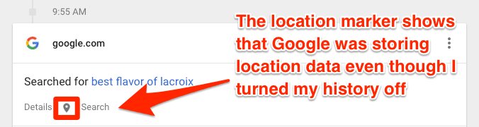 "Even if you turn off ""location history,"" Google will still store time-stamped location data"