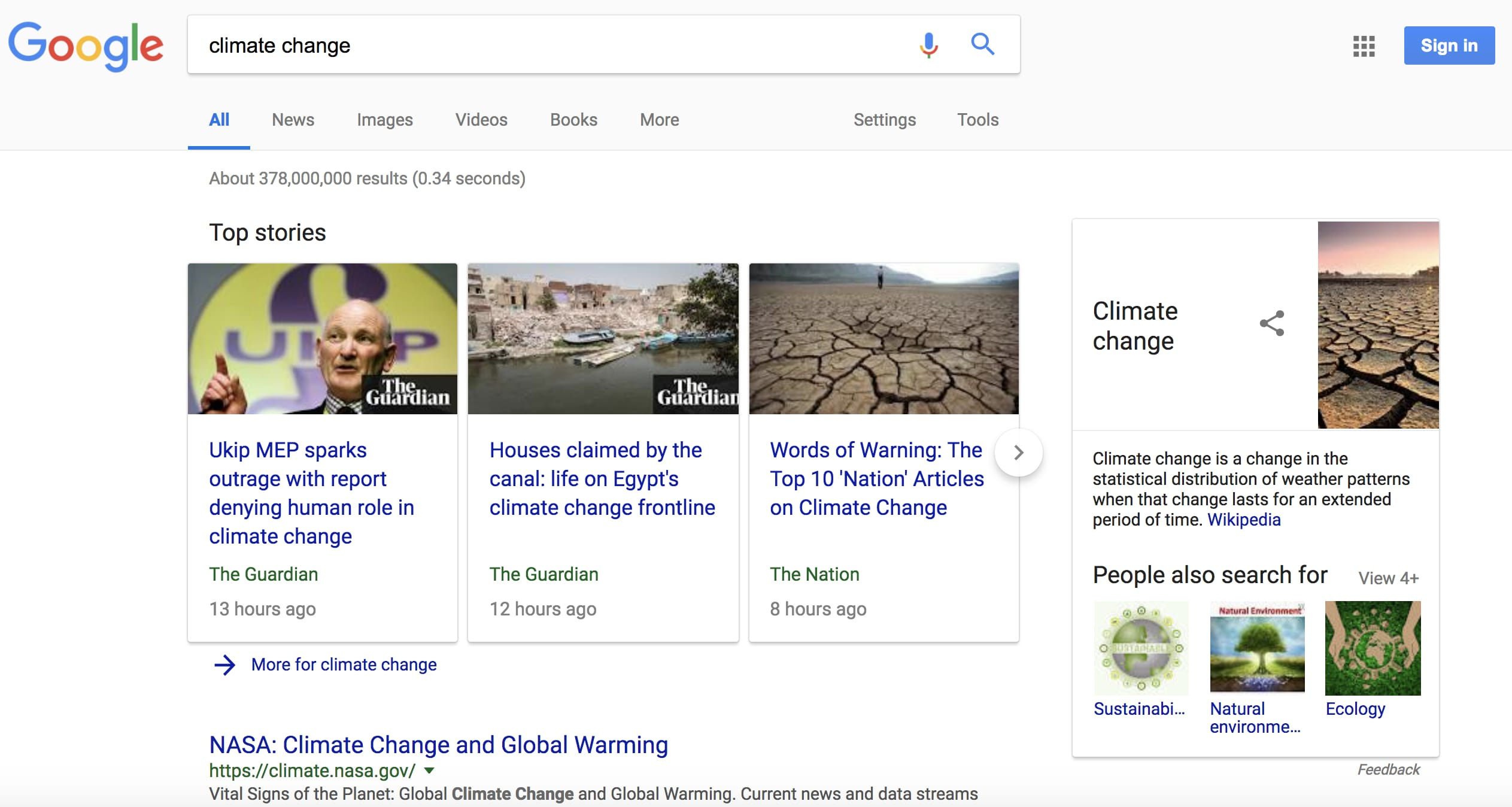Climate Change Google