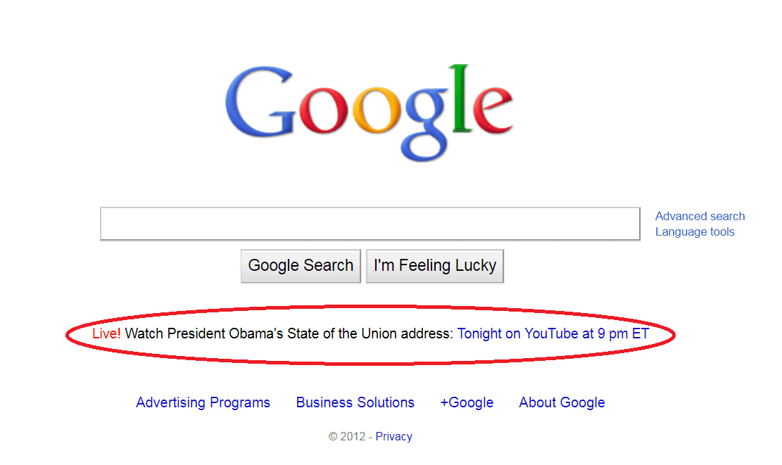 SCREENSHOT google sotu 2012