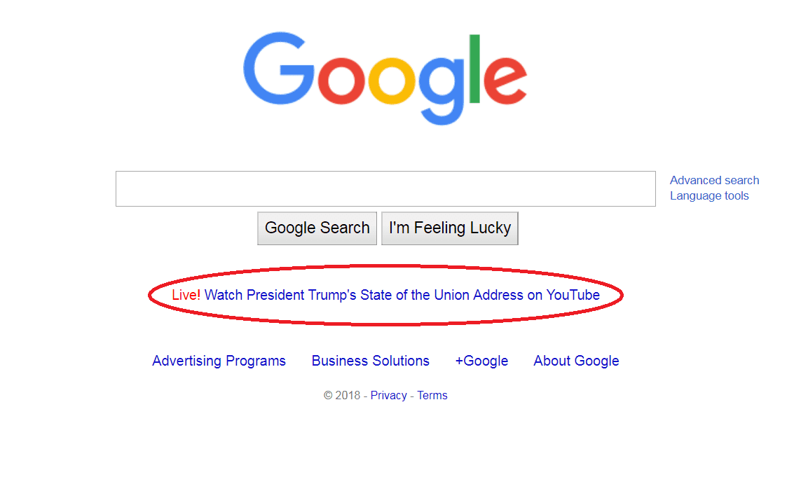 SCREENSHOT trump SOTU google jan 31