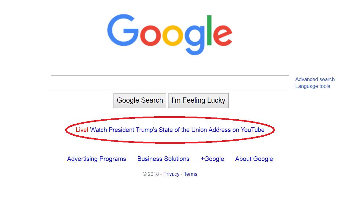SCREENSHOT trump SOTU google jan 31