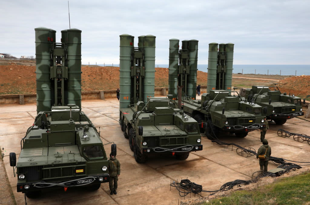 A Russian S-400 surface-to-air missile system.