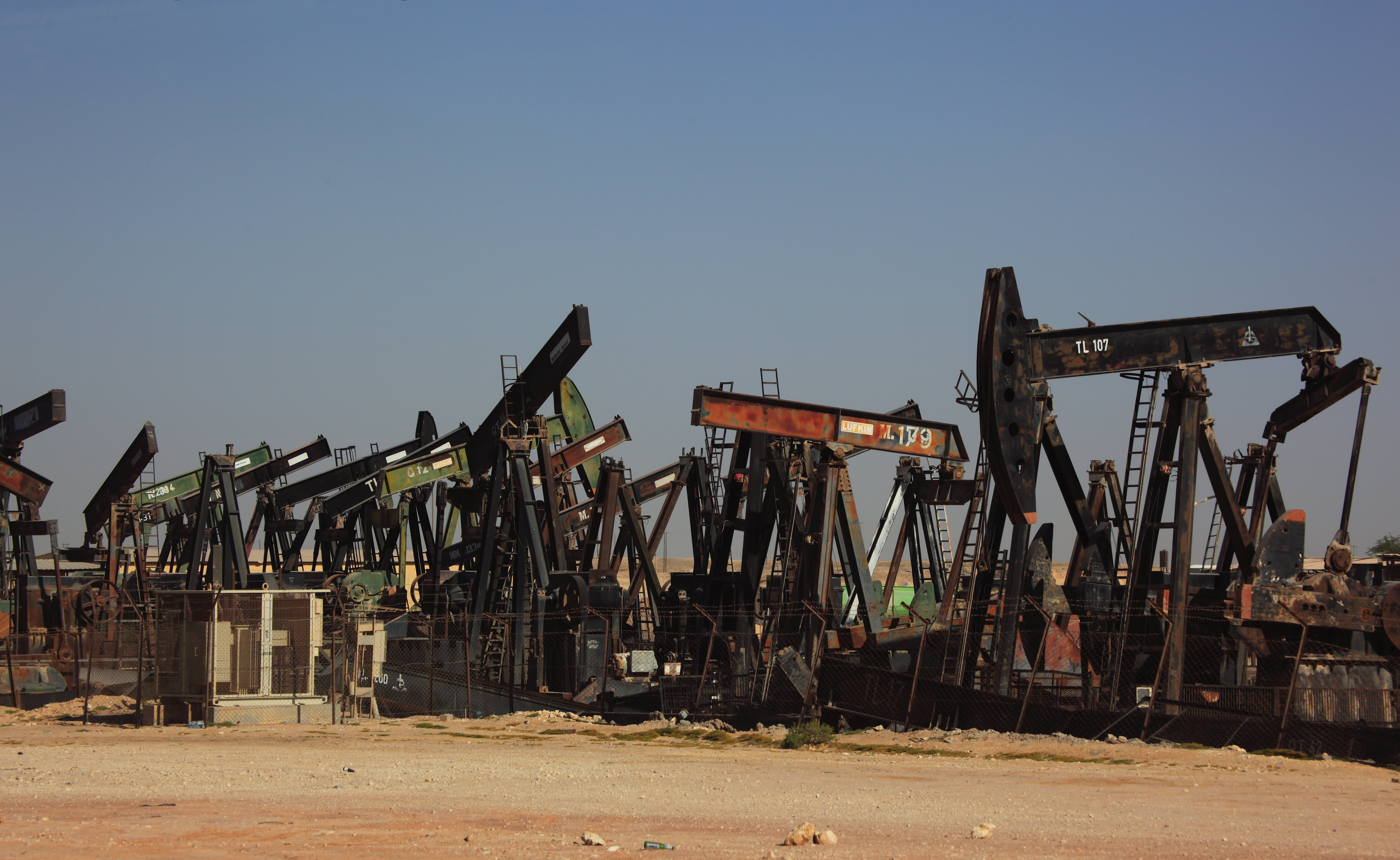 Camp with retired oil pumps with Marmul, Oman