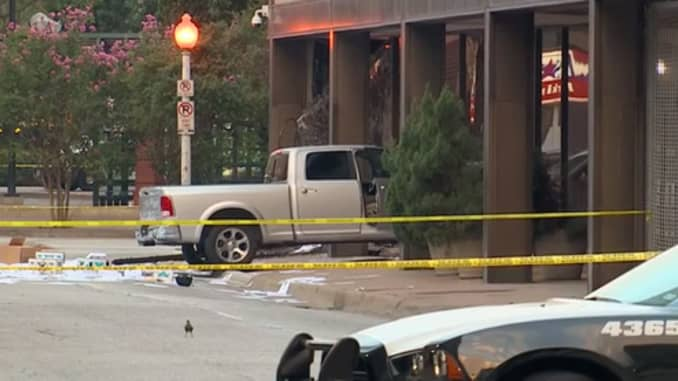 Man repeatedly crashes truck into Dallas TV station building