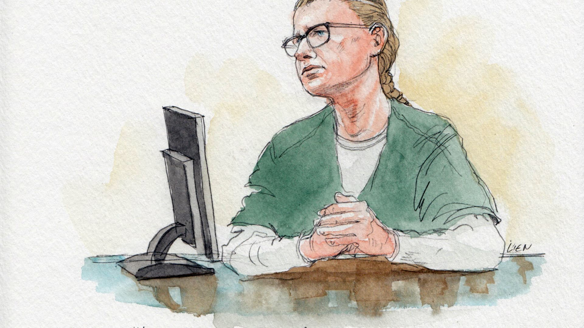 Sketches from the hearing at US District Court in DC for Maria Butina, September 10, 2018.