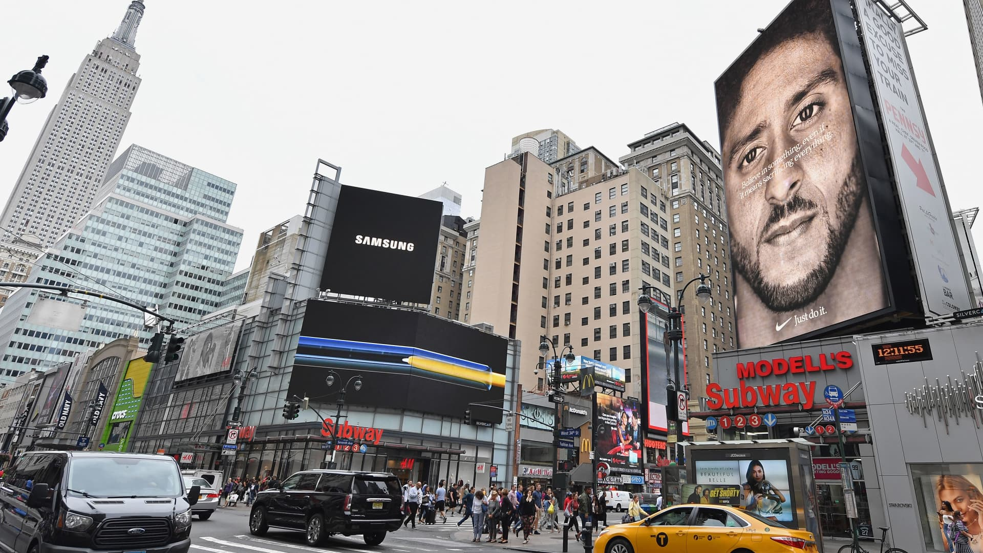 A Nike Ad featuring football player Colin Kaepernick is on display September 8, 2018 in New York City.