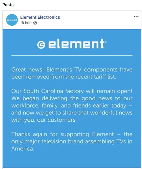 Element TV Tariff announcement Facebook