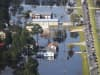 Floodwaters are seen surrounding homes after heavy rains from Hurricane Florence on September 20, 2018, in Lumberton, North Carolina.