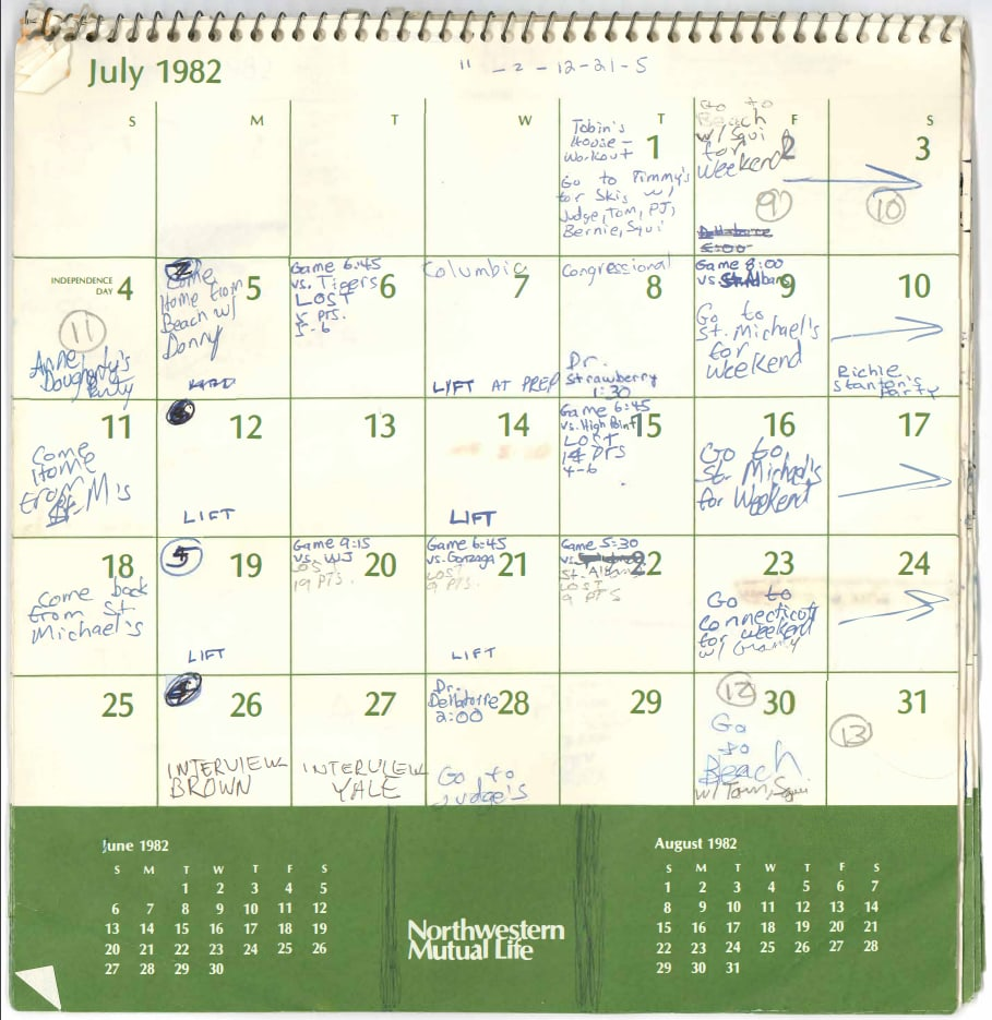 H/O: Brett Kavanaugh July calendar