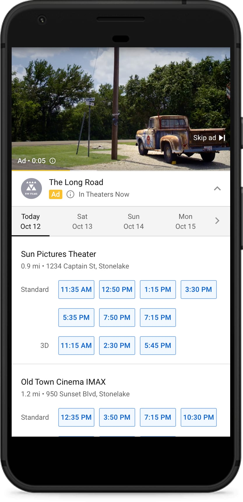 movie showtimes displayed on smartphone app