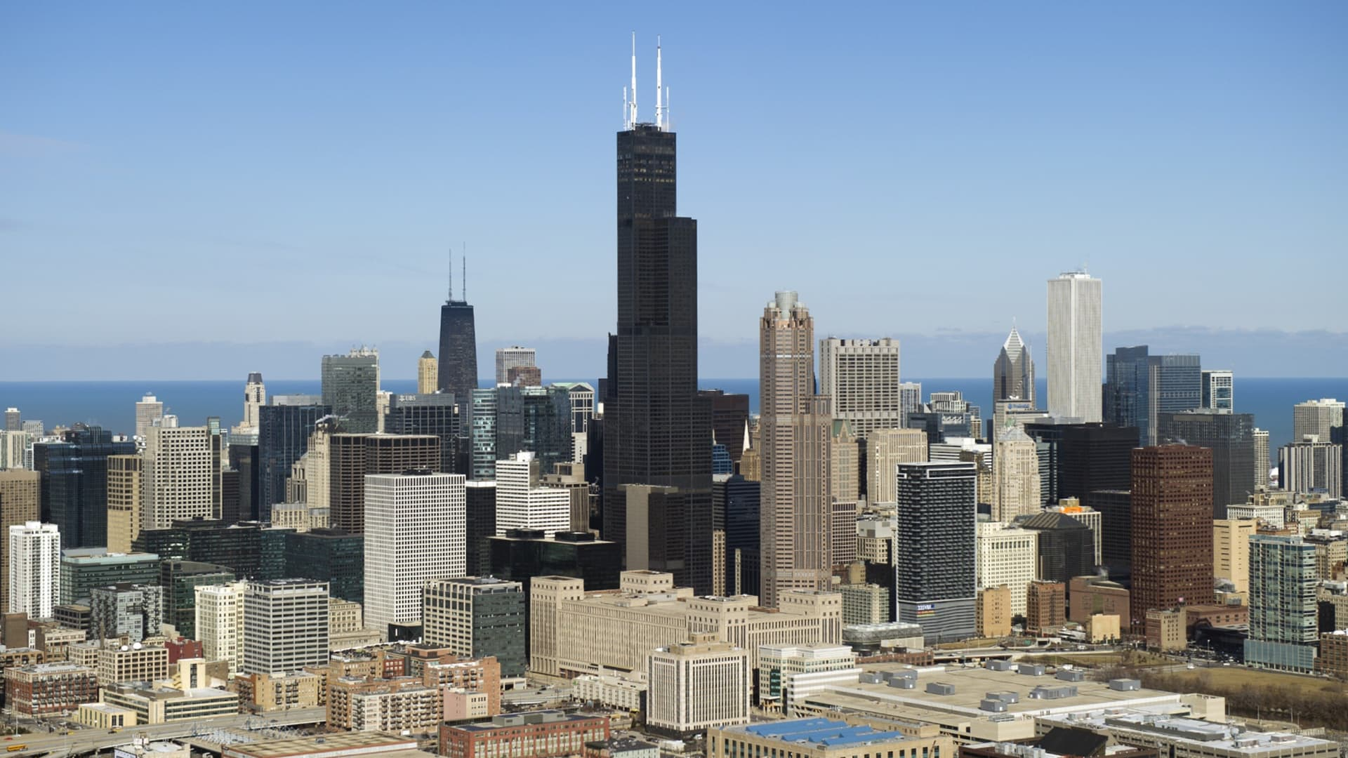 The Chicago, Illinois, downtown skyline including the Willis Tower, formerly known as the Sears Tower, is seen from the air, February 15, 2013.