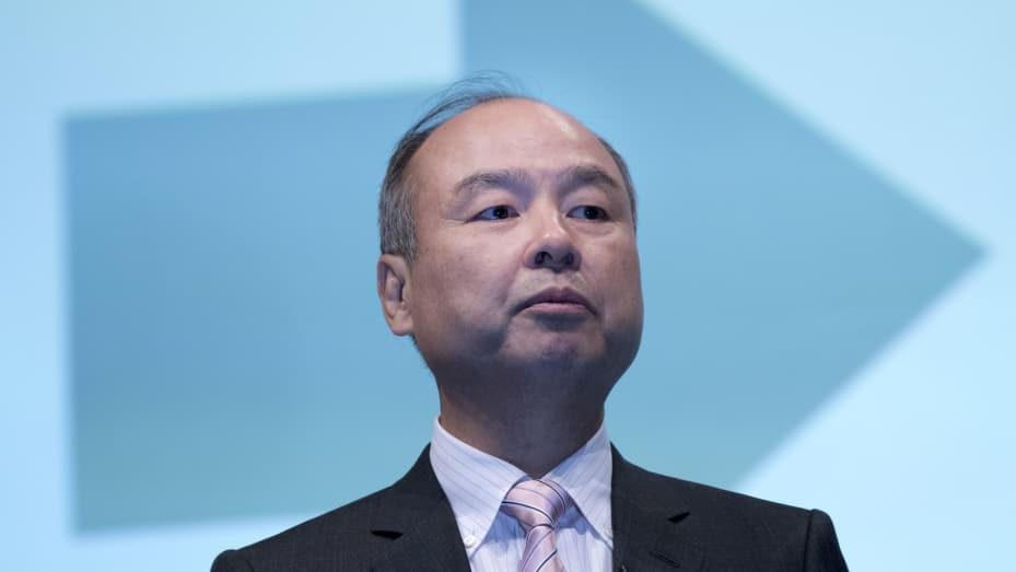 Masayoshi Son speaks during a joint announcement with Toyota Motor to make new venture to develop mobility services in Tokyo in October 2018.