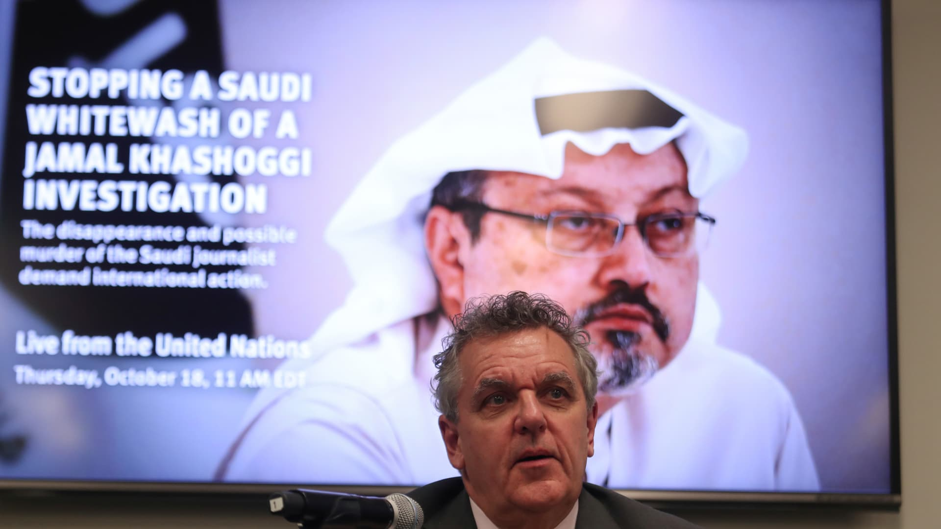 Robert Mahoney, Deputy Executive for the Committee to Protect Journalists, speaks during a news conference to issue an appeal to the UN on the disappearance of Saudi journalist Jamal Khashoggi at the United Nations in New York, U.S., October 18, 2018.