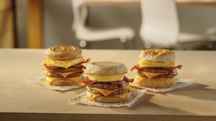 H/O McDonald's Triple Stack Breakfast sandwich