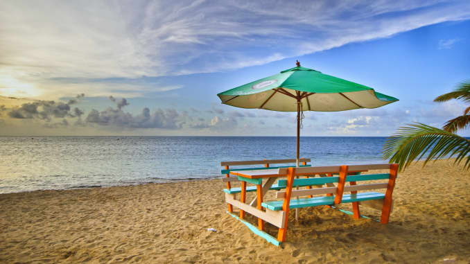 Sunset at whale beach  (playa las ballenas) in Las Terrenas, Dominican Republic