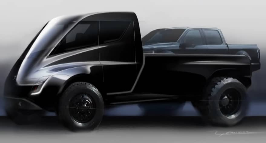 Tesla pickup truck sketch