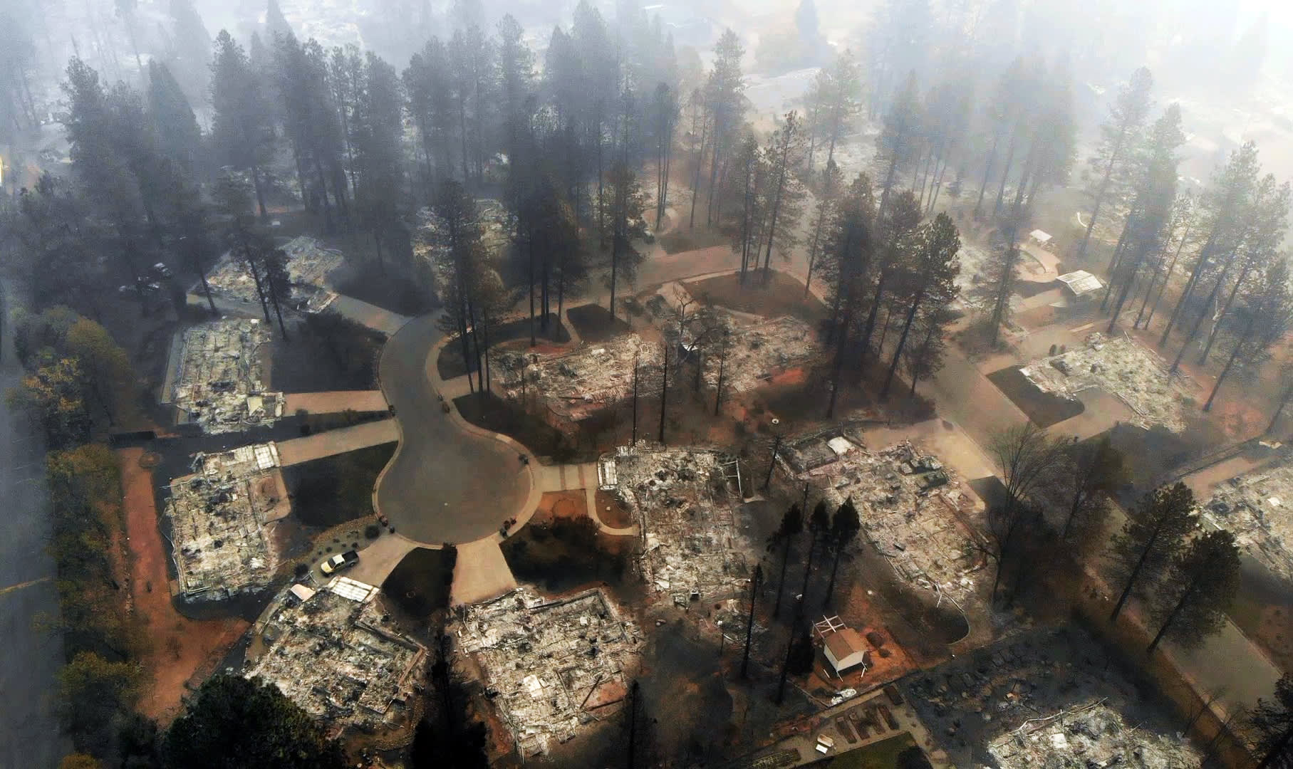 An aerial view of Paradise, California off of Clark Road on Nov. 15, 2018. The Camp Fire has burned more than 7,000 structures in Paradise.