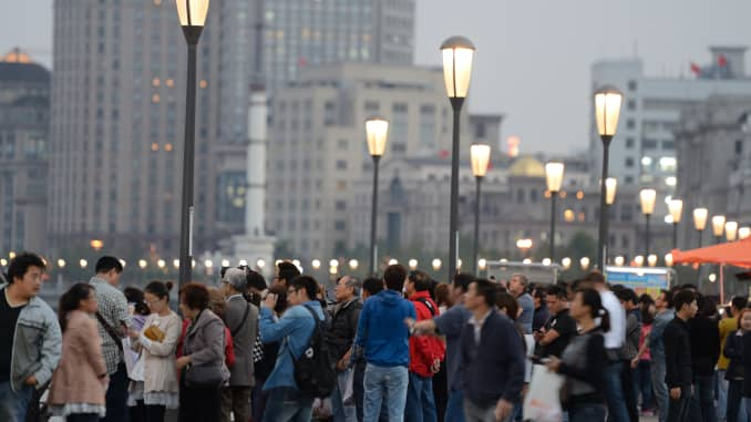View on the Bund, a waterfront area in central Shanghai, which runs along the western bank of the Huangpu River.