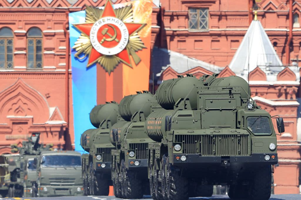 Russia's S-400 surface-to-air missile system is seen during a military parade in Moscow's Red Square.