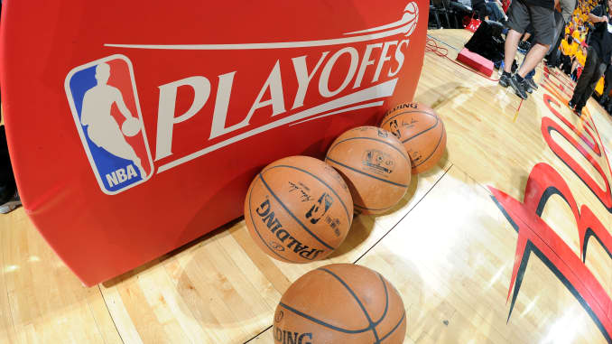 The NBA Playoffs logo and Official Spalding Balls before a game.