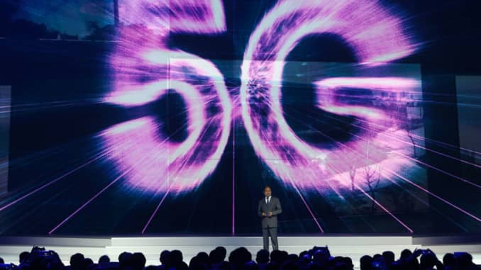 Eric Xu, Huawei's rotating chairman, discusses 5G technology during an event in China.
