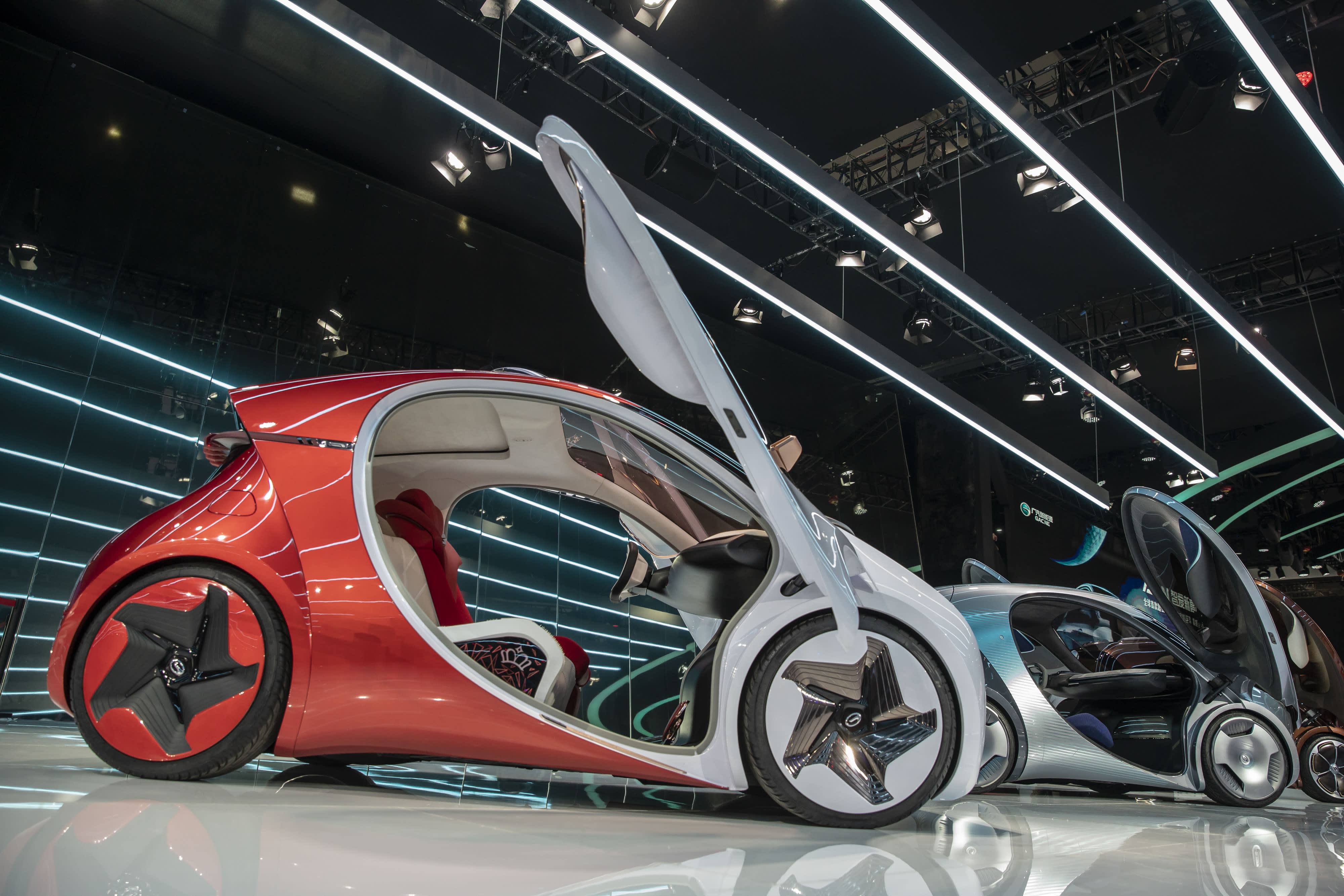Guangzhou Automobile Group Co.'s (GAC) Trumpchi concept vehicles are displayed at the Guangzhou International Automobile Exhibition in Guangzhou, China, on Friday, Nov. 16, 2018.