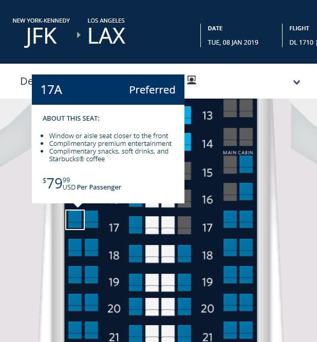 H/O: Delta Airlines preferred seating chart