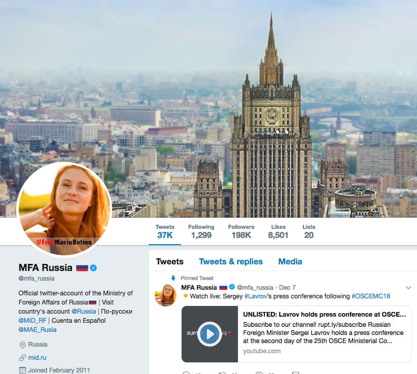 Russian Foreign Ministry twitter page avatar