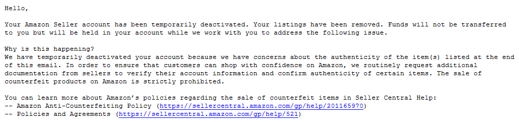 Amazon email to booksellers