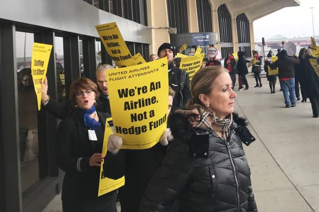 CNBC United Airlines Employees Protest Flight Attendants