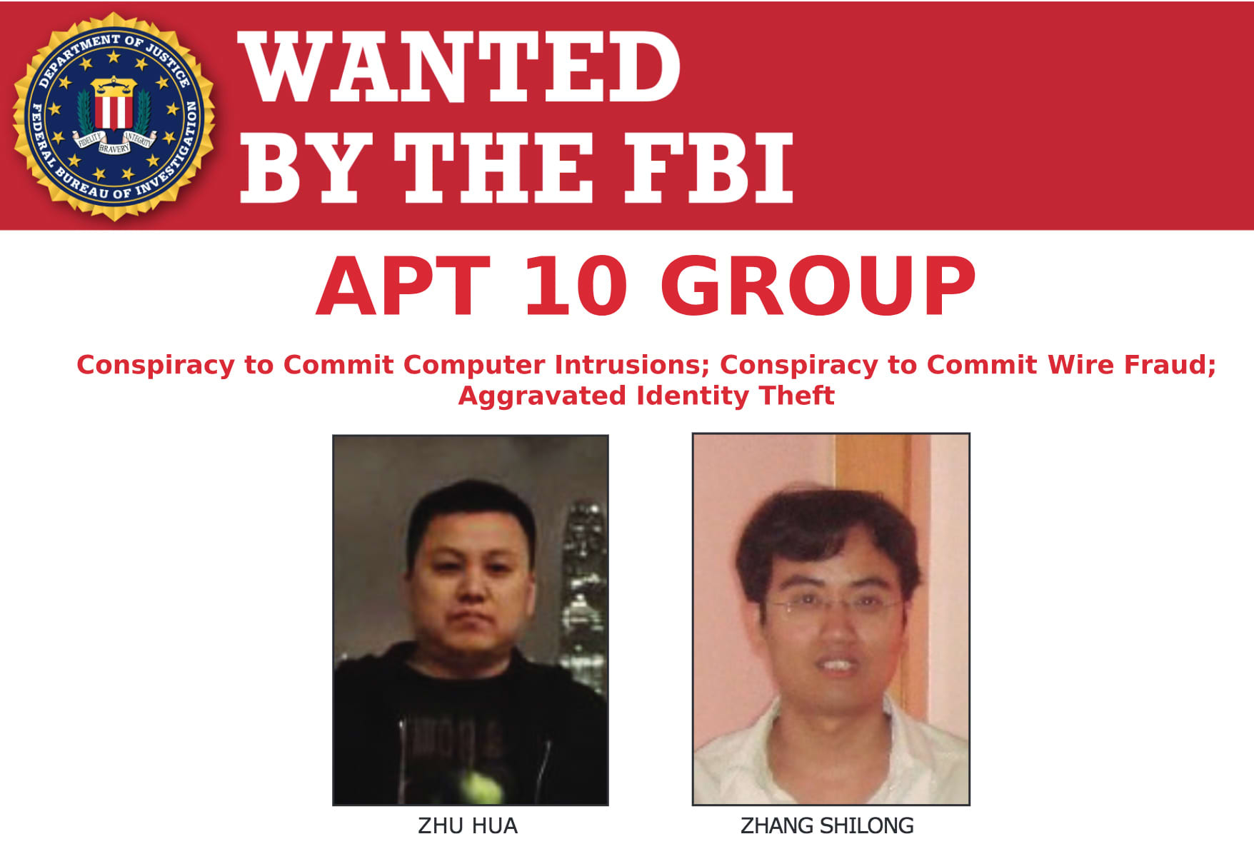 Apt 10 Group FBI Wanted Poster 181220