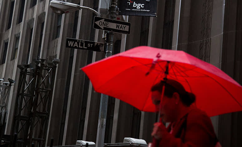 GP: Wall street stocks in red umbrella