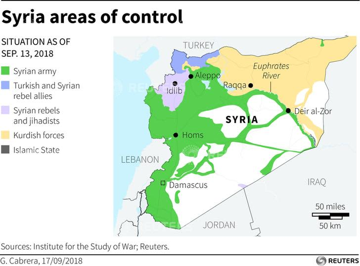 Reuters Syria control MAP 181225 Asia