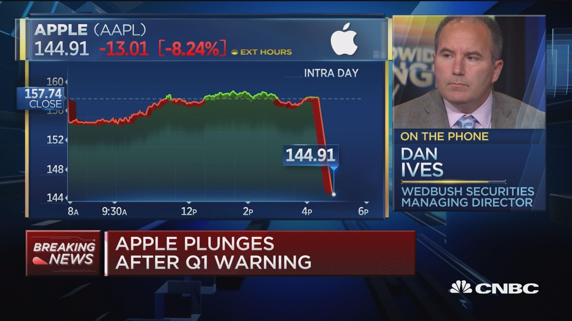 Lower guidance is a 'major black eye' for Apple, says Wedbush's Dan Ives