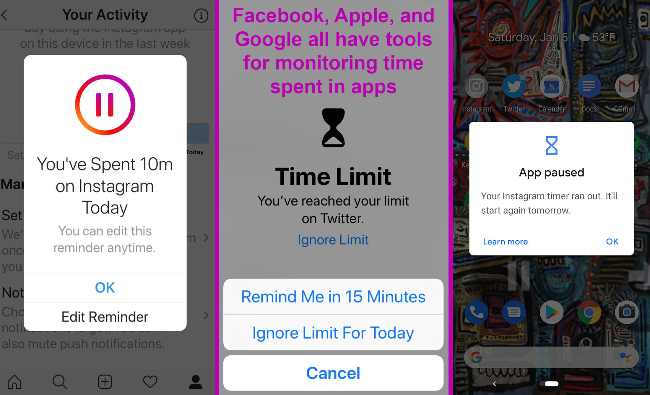 Limit time in apps